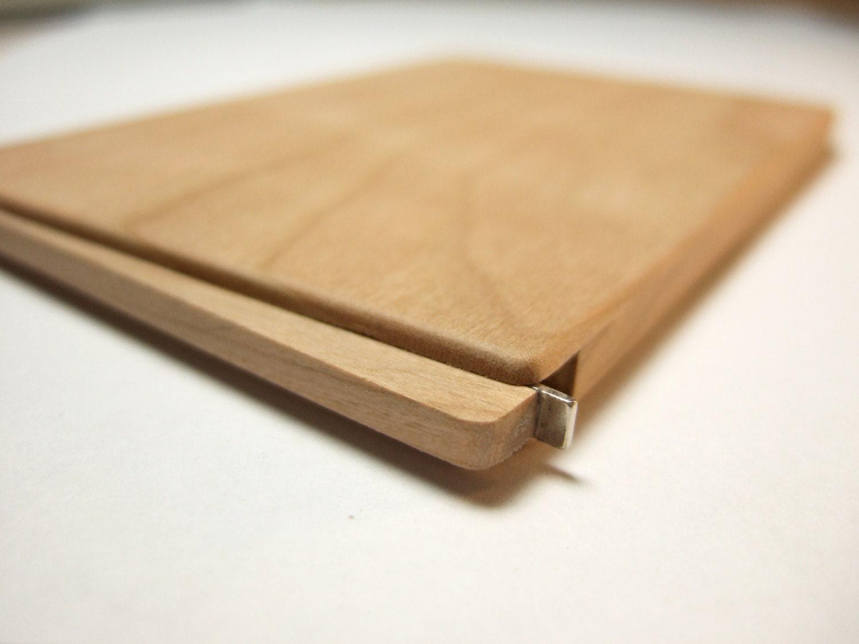wood business card holder slim cherry
