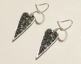 Pewter Heart Dangle Earrings