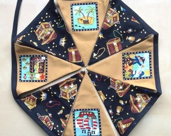 Pirate Bunting Large Flags Gold Black Treasure Banner Large Flags