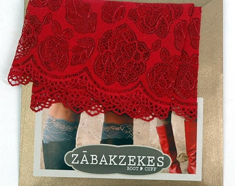 Lace Boot Cuff Socks, Red lace - boot topper - wellies boot cuff , lace leg warmers