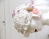 Hat Wedding Valentaine, Hat Edwrdian. Vintage Inspired Cream Lace Hat - recyclingroom