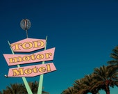 Tod Motor Hotel -  Las Vegas - Retro Neon Sign Art - Googie Home Decor - Colorful Wall Art - Pink Neon Sign - Fine Art Photography