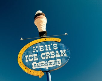 Ken's Ice Cream Sandwiches - Route 66 Neon Sign - Fiberglass Ice Cream Cone - Retro Kitchen Decor - Wall Art - Fine Art Photography