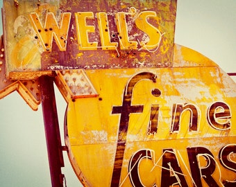 Well's Fine Cars Neon Sign - Old Service Station - Retro Home Decor - Rusted Neon Sign - Man Cave Wall Art - Fine Art Photography