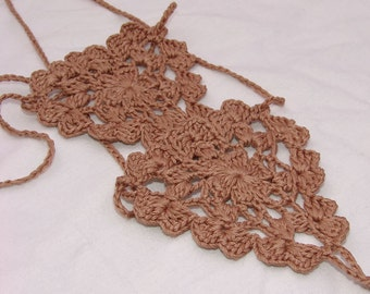 Crochet Milk chocolate Barefoot Sandals, Nude shoes, Foot jewelry, Wedding, Victorian Lace, Sexy, Lolita, Yoga, Steampunk, Beach Pool
