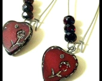 Engraved Blood Red Hearts Long Earrings, Czech Glass