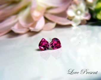 3 Pairs - Swarovski Crystal Stud Cutie Sweet Heart Earrings - Hypoallergenic or Metal post - Choose your color and post