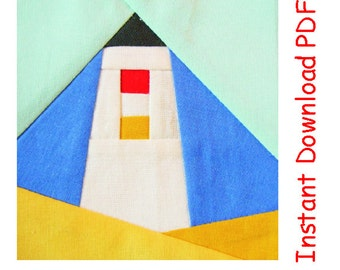 Lighthouse Paper pieced Pattern quilt block INSTANT DOWNLOAD PDF Free sun pattern