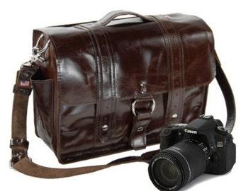 "15"" Molasses Sonoma Italian Leather Camera Bag - 15-V-IM-LCAM"