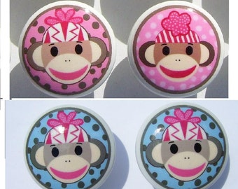 2 Two SOCK MONKEY Pink Brown or Blue and Gray kids boys girls   Dresser Drawer Knob