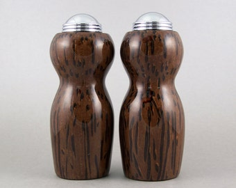 Salt and Pepper Shakers - Handmade Black Palm with chrome caps
