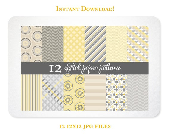 Yellow Dots and Diagonals Digital Scrapbook Paper - Patterns  - INSTANT DOWNLOAD - Free Clipart w order