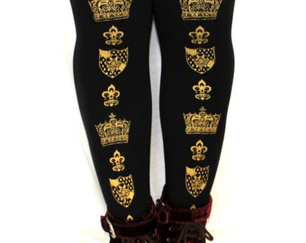 XL Crown Otome Kei Tights Extra Large Plus Size Gold on Black Royal Victorian Steampunk Medieval Fleur de Lis Emblem Women