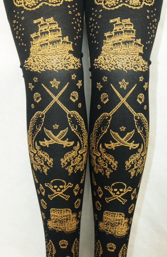 Nautical tattoo thigh high printed stockings gold on black one for Black gold tattoo