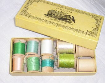 J. & P. Coats Thread Box with Spools from Carla's Vintage Finds