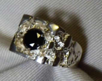 Mens Black Diamond Ring, Certified 1.82 Carats Appraised at 1,525.00 Nugget Style Size 9 Sterling Silver, Real Genuine Diamond
