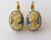 Cameo Earrings - Wedgewood Blue & Ivory, Victorian Style, Gold Earrings