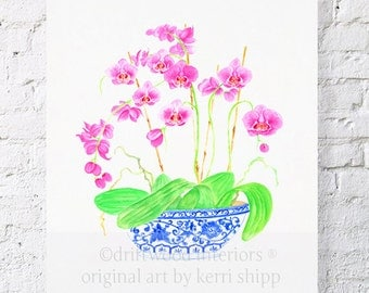 Pink Orchids in Vintage Blue and White China 11x14 - Blue and White Chinoiserie Print - Pink Floral Watercolor Print