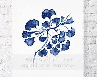 Sea Fan IV in Denim Print 8x10 - Sea Life Art Print - Coral Art Print - Blue Coral Print - Seaweed Giclee Print - Marine Life Print