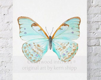 Watercolor Print Butterfly in Celadon 11x14 - Papillon Series - Butterfly Print by Kerri Shipp - Blue Butterfly Art Print