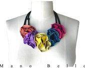 Multi Color Leather Flower Bib Necklace Leather Boho Flower Neckpiece  in stock