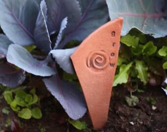 Grow Stick - Terracotta ceramic with spiral design