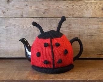 Ladybug Tea Cozy, Knit Tea Cosy, Handmade Ladybug Teapot Cosy