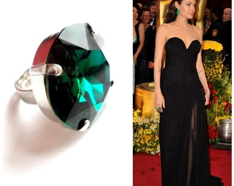 SALE was 39.99 Angelina Jolie's Inspired Emerald Round Shape Cocktail Rhodium Plated  Adjustable Ring