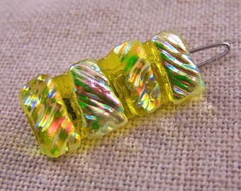 """1"""" Dichroic Barrette - Gold Yellow Ripple Textured Diamonds & Ice Opal Pink Copper Fused Glass - Tiny Small Bangs Clip - One Inch 25mm 2.5cm"""