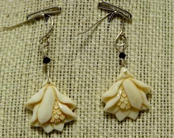 carved bone flower earrings