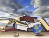 Fine Art print- The World Is a Book- home decor, great gift for student... graduate...travel lover