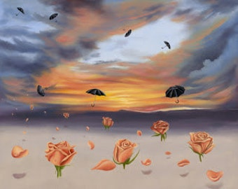 Rose and Umbrella ..Swept Away...by Kimberly Fox....FINE ART PRINT...Surrealistic Painting