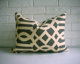 SALE Decorative Lumbar Pillow Cover - Schumacher Imperial Trellis Kelly Wearstler in Midnight Parchment - Gray Cream Lattice - Modern Accent