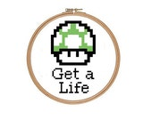 Mario Green Mushroom Counted Cross Stitch Pattern PDF Get a Life Funny