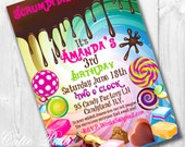 Willy Wonka Birthday Invitations | Willy Wonka Invite | Wonka Invitation | Candy Invitation | Candy Invite | Candy Party Invite