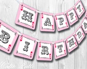 Queen of Hearts Party, Alice in Wonderland Party - PRINTABLE BIRTHDAY BANNER- Cutie Putti Paperie