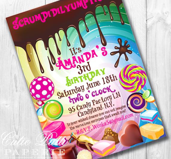 Willy Wonka Birthday Invitations, Printable Custom Invitations by Cutie Putti Paperie