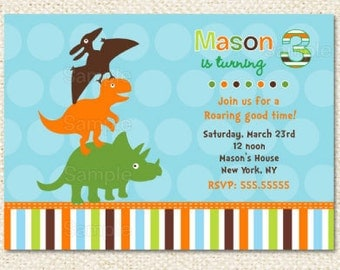 Dinosaur Birthday Invitations - DIY printable - Boy - Dinosaur theme - Dinosaur invitations