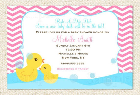 rubber duck baby shower invitations by lollipopprints on etsy, Baby shower