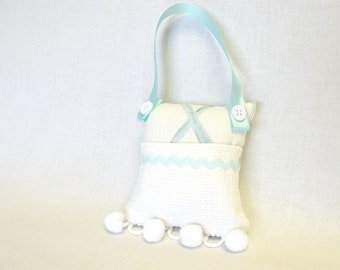 Gift for Girls Tooth Fairy Pillow or Purse Toy in Mint Green and White