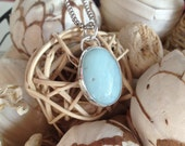St Thomas Pendant  Sterling silver bezel set Amazonite pendant, caribbean, resort wear, gifts for her, artisan crafted