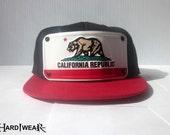 California republic bear Flag Snapback metal HardWearIntl snapback Hat CALI CALIFORNIAS ca republics bears snapbacks hats cap cas black red