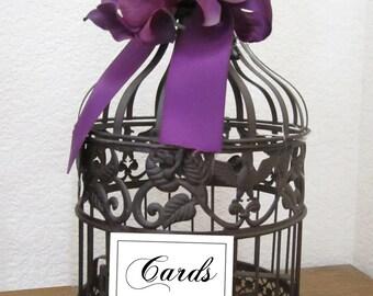 Small Dark Finish Round Birdcage- Purple Hydrangeas