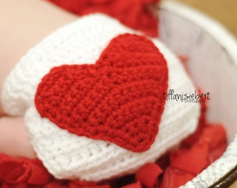 Valentine's Day Heart Butt Diaper Cover in White and Red Available in Newborn to 24 Months Size- MADE TO ORDER