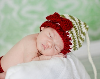 Santa's Little Helper Beanie in Cranberry, Ecru and Olive Green Available in Newborn to 12 Months- MADE TO ORDER