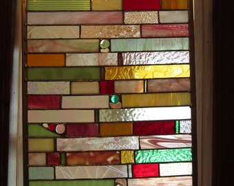 Stained Glass Transom in Pinks, Greens, Golds, and a Dabble of Deep Red
