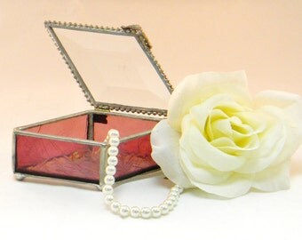 "Stained Glass Jewelry Box, Keepsake Box, 2 X 4"", Raspberry Pink, Diamond Shape, Bridesmaid Gift, Mother of Bride Gift"