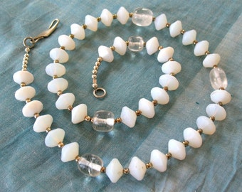 African Trade beads necklace with quartz