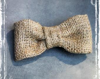 Clip On Burlap Bow Tie - Rustic Weddings - Groomsmen Groom - Ring Bearer - Spring Summer Fall - Country Farm Earthy