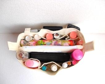 Bag organizer - Purse organizer insert in Cream fabric